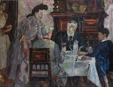 George , Marguerite, Marie-Madeleine Desvallières et Monique et Benoît Isorni