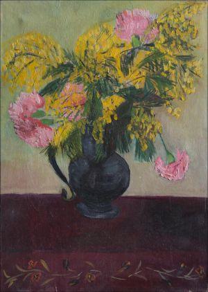 Bouquet oeillets et mimosa