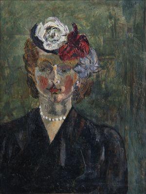 Autoportrait chapeau à fleurs