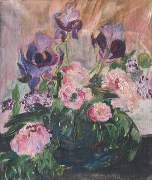 Bouquet de pivoines et iris
