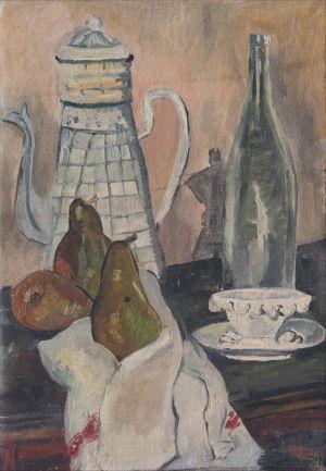 Cafetière et poires
